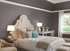 Benjamin Moore Paint Colors - Gray Bedroom Ideas - Cool Gray Bedroom - Paint Color Schemes . . . . . Deep Granite (AF-660) extends beyond the walls, highlighting the architectural lines of the tray ceiling. . . . . . Walls (and lower part of tray ceiling) - Granite (AF-660); Accent (smallest pillow & top of round table) - Tranquil Blue (2051-50); Ceiling & Trim (upper part of tray ceiling & trim) - Simply White (2143-70).