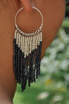 DIY silver and black seed beads, fringe earrings on hoop