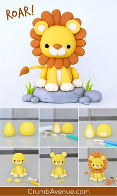 free tutorial how to make step by step pictorial Crumb Avenue lion jungle Jungle Birthday Cakes, Jungle Cake, Birthday Animals, Art Birthday, Birthday Month, Elephant Cake Toppers, Elephant Cakes, Cake Topper Tutorial, Fondant Tutorial