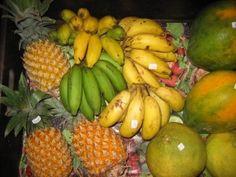 Mini bananas, pineapple in Tahiti