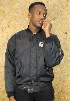 Vintage Black Alpha Bomber Jacket with Orange Inner