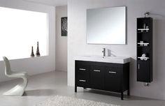 super sleek white bathroom with black vanity Grey Bedroom Furniture, Bedroom Flooring, Bathroom Furniture, Bathroom Vanity Stool, Black Vanity Bathroom, White Bathroom, Bathroom Vanities, Bathroom Ideas, Bathrooms