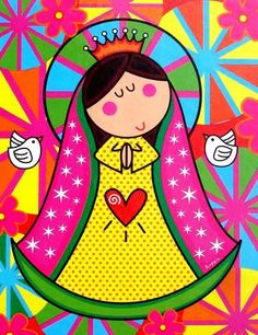 Virgencita for First Communion Jesus E Maria, Holy Mary, Blessed Virgin Mary, First Holy Communion, Blessed Mother, Religious Art, Doodle Art, Painted Rocks, Folk Art