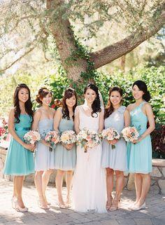 blue bridesmaids dresses - photo by Caroline Tran http://ruffledblog.com/a-sophisticated-wedding-at-maravilla-gardens