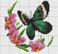 Butterfly Cross Stitch, Cross Stitch Rose, Cross Stitch Animals, Cross Stitch Charts, Cross Stitch Patterns, Cross Stitching, Cross Stitch Embroidery, Bordado Popular, Pixel Art Templates