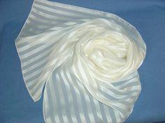 Seidenschal 180x45cm weiss Chiffon Satinstreifen  von Textilkreativhof auf DaWanda.com