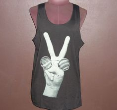 Image of American T Shirt Black Singlet Screenprint Tank tops Women Workout Tee