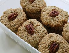 Maple Pecan Power Cookies. Crispy, maple-sweetened pecan and oat cookies with a great coconut flavor! The hemp seeds add even more nutrition and power. Reminds me of Dad's cookies, made by the Christie company, except much healthier.