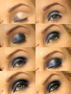 Tutorial - Blue smokey eyes. Full tutorial on http://blogg.veckorevyn.com/hiilen/2012/06/11/bla-tutorial/