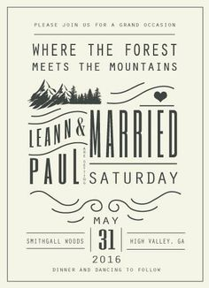 This wedding invitation offers a mountain or forest theme with a vintage feel, featuring hand drawn elements and illustrations and antique fonts.