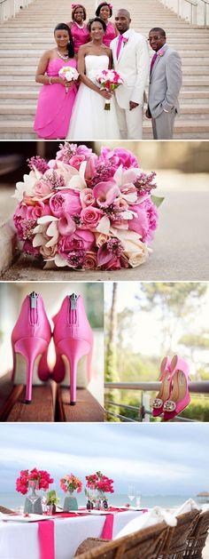 pink wedding ideas #hot #pink #decorations