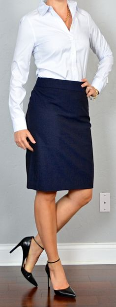 Outfit Posts: outfit post: pinstripe button down shirt, navy pencil skirt, black pointed toe pumps