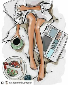 Coffee in bed - art illustrations ilustrator, desene, cafea. Fashion Quotes, Fashion Art, Fashion Painting, Trendy Fashion, Pictures To Paint, Cool Pictures, Coffee In Bed, Coffee Coffee, Coffee Reading