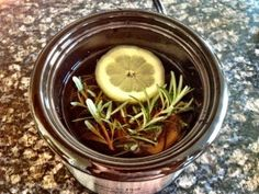 Make your house smell great: 1 C. water, 2 lemon slices, 3 sprigs fresh rosemary, 1 tsp vanilla extract. Simmer on low