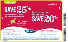 20% off and more at Old Navy, or online via promo code ONHURRY coupon via The Coupons App