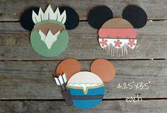 Disney Princess Themed Scrapbooking Embellishments or Window Decorations: Tiana, Moana & Merida Mickey Heads by ScrapWithMeToo on Etsy