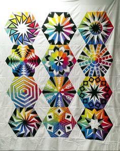 Arcadia Avenue BOM quilt. Quilt made by Christine.