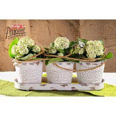 Plechové tři květináče | Styl PROVENCE - zahradní dekorace - Doplňky na zahradu - Plechová dekorace
