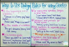 Use these anchor charts on dialogue and quotations to discuss ways to use dialogue in narratives. You can also have students look through a page in their current novel and pick out each of the dialogue rules discussed. Writing Lessons, Teaching Writing, Writing Activities, Writing Skills, Writing Ideas, Teaching Ideas, Grammar Lessons, Kindergarten Writing, Writing Process