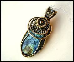 Wire wrapped brass and blue labradorite pendant by amorfia on Etsy, $50.00