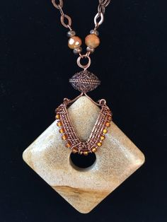OOAK Copper Wire Wrapped Riverstone necklace