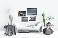 Black And White Portrait Photo Coastal Living Room Art Beach