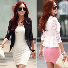 New Lace Womens Slim Casual 1/2 Sleeve OL Blazer Suit Jacket Outerwear Coat Tops in Clothing, Shoes & Accessories, Clothing, Shoes & Accessories | eBay
