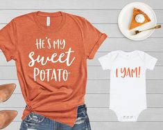 Mommy and Me Thanksgiving Shirts He's She's My Sweet Potato I Yam Funny Tshirt Mother Daughter Son Mom Baby Toddler Kid Boy Girl Fall Shirt – funny kids Mama Baby, Mom And Baby, Mom And Me, Mommy And Son, Mommy And Me Shirt, Mommy And Me Outfits, Boy Outfits, Mommy And Me Clothing, Boy Clothing