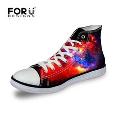 Hot Sale Women High-Top Canvas Shoes,Starry Night Galaxy Pattern Flat Shoes Unisex Men Casual Shoes,Female Male Breathable Shoes
