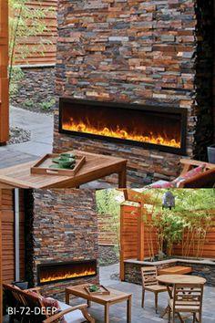 Amantii 72″ wide x 12″ deep Built-in Outdoor Electric Fireplace (BI-72-DEEP-OD)