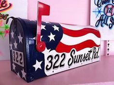 American Flag Design Hand Painted Rural Style Large Size Mailbox ...
