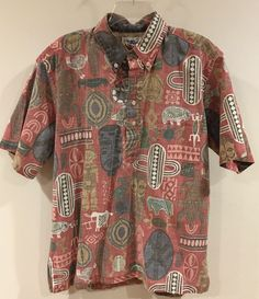 5082badca vtg REYN SPOONER Reverse Print Pullover Tribal Tiki Fish Hawaiian Shirt  Men's L   eBay Underarm
