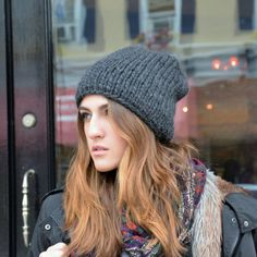 Women's Charcoal Gray Knit Hat / Chunky Slouchy by danielastange