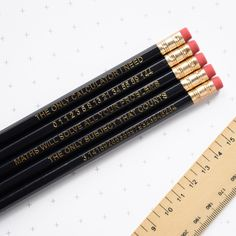 Maths Pencil Set Geek Stationery Gift for Him Her Thank You... (€8,72) ❤ liked on Polyvore featuring home, home decor, office, school, grey, home & living, office & school supplies, apple home decor, apple notebook and apple note book
