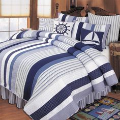 Nantucket Dream Nautical Bedding for Cooper's big boy room (mix and match pieces with solids... add baseball pillow)