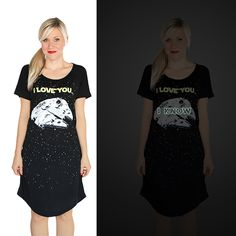 """New Glow-In-The-Dark Star Wars """"I Love You, I Know"""" Sleep Shirt From Her Universe"""