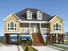 Low Country or Beach Home Plan - 60053RC | Beach, Low Country, Vacation, Narrow Lot, Photo Gallery, 1st Floor Master Suite, Butler Walk-in Pantry, CAD Available, Carport, Drive Under Garage, Media-Game-Home Theater, PDF | Architectural Designs
