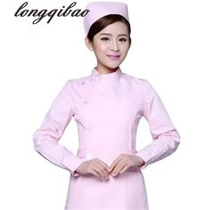 7d4cb3fedf658 Medical doctors lab white coat cotton clothing uniforms nurse beautician  partial lapel collar long-sleeved uniforms female