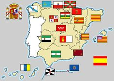 Mapa de las autonomías y sus respectivas banderas