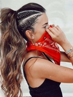 Its best to take your ponytail style to the next level. Ponytail hairstyles and haircuts you may just get stunning and cute in these days. Take this look, create side braids and tie it for top ponytail hair looks. Braided Ponytail Hairstyles, Girl Hairstyles, Summer Hairstyles, Hairstyle Braid, Festival Hairstyles, High Ponytail With Braid, Braided Hairstyles For Long Hair, Side Braids For Long Hair, Pretty Hairstyles