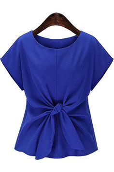Solid Color Knotted Short Sleeve Casual Top @ Womens Shirts & Blouses,Women Shirts,Cheap Button Down Shirts,Long Sleeve Shirts,Blouses,Peasant Blouse,Cheap Blouse,Sheer Shirts,Womens Denim Shirts,Fashion Blouse,Sexy Shirt,Collar Shirt,V Neck Blouse,Polo Shirt,Floral Print Shirt,White Blouse