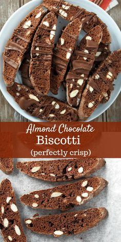 The perfect chocolate biscotti recipe-thn and perfectly crisp. They are perfect as gifts during the Holidays and also perfect to pair with your morning coffee. #italiancookies #biscotti #chocolate #almonds | Woman Scribbles