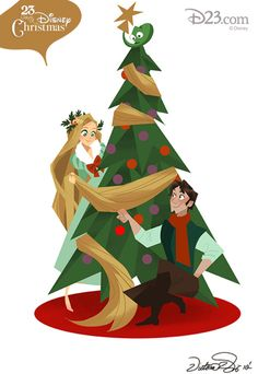 Happy Holidays from Flynn Rider and Rapunzel! Tangled Art by Victoria Ying, Visual Development Artist at Walt Disney Animation Studios!