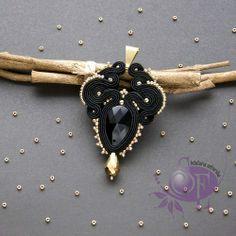 black and gold soutache Szkatułka Emi   #soutache #necklet