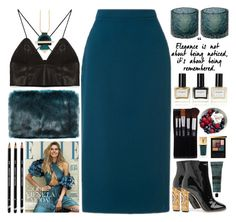 """""""Teal green"""" by doga1 ❤ liked on Polyvore featuring L.K.Bennett, Lazy Susan, Dolce&Gabbana, Nylon Sky, Balmain, Forever 21, Yves Saint Laurent and Aesop"""