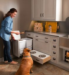 Built in food storage and serving area in the laundry room or a mud room.