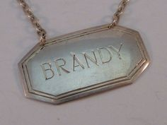 Vintage Sterling Silver Brandy Tag Label Liquor Bottle Decanter Richards Knight #RichardsKnight