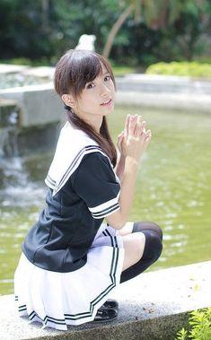 Japanese School Uniform Girl, School Uniform Fashion, Cute Asian Girls, Cute Girls, Stewardess Pantyhose, Asian Cosplay, Beautiful Japanese Girl, Cute Girl Photo, Cute Girl Outfits