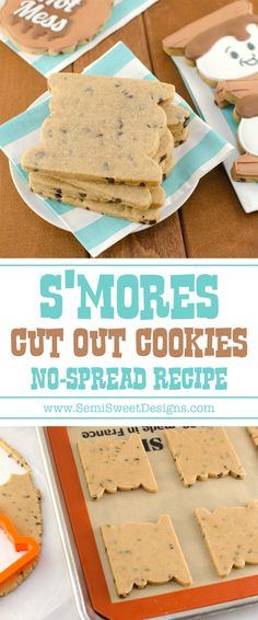 S'mores Cut-Out Cookie Recipe This s'mores cut-out cookie recipe is perfect for summer time decorated cookies. It has a chocolate chip, honey graham cracker base, with marshmallow flavored icing. Roll Out Sugar Cookies, Cut Out Cookies, Sugar Cookies Recipe, Chocolate Sugar Cookie Recipe, Rolled Sugar Cookie Recipe, Cookie Flavors, Cookie Recipes, Cookie Ideas, Icing Recipes