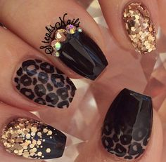 Gold Leopard ombre nails @_stephsnails_